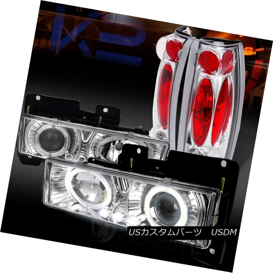 テールライト 88-98 Chevy C/K Pickup Chrome Halo LED Projector Headlights+Chrome Tail Lamps 88-98 Chevy C / KピックアップChrome Halo LEDプロジェクターヘッドライト+ Chr omeテールランプ