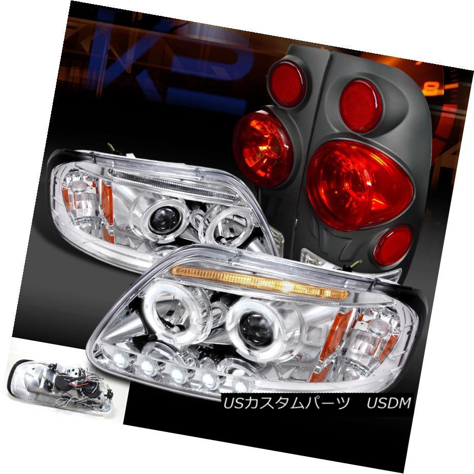 テールライト 97-03 F150 Styleside Chrome Halo LED Projector Headlights+Black 3D Tail Lamps 97-03 F150 Styleside Chrome Halo LEDプロジェクターヘッドライト+ Bla ck 3Dテールランプ