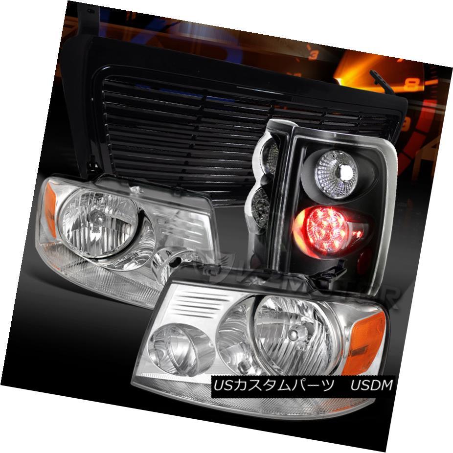 テールライト 04-08 Ford F150 Chrome Headlights+Black LED Tail Lamps+Billet Hood Grille 04-08 Ford F150クロームヘッドライト+ Bla ck LEDテールランプ+ Billet Hood Grille