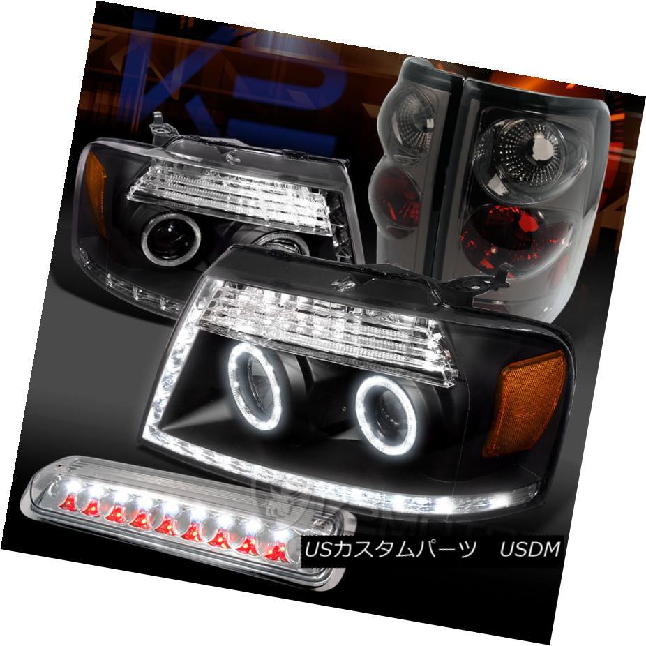 テールライト 04-08 F150 Black LED Halo Projector Headlights+Clear 3rd Brake+Smoke Tail Lamps 04-08 F150ブラックLEDハロープロジェクターヘッドライト+ Cle ar第3ブレーキ+煙テールランプ