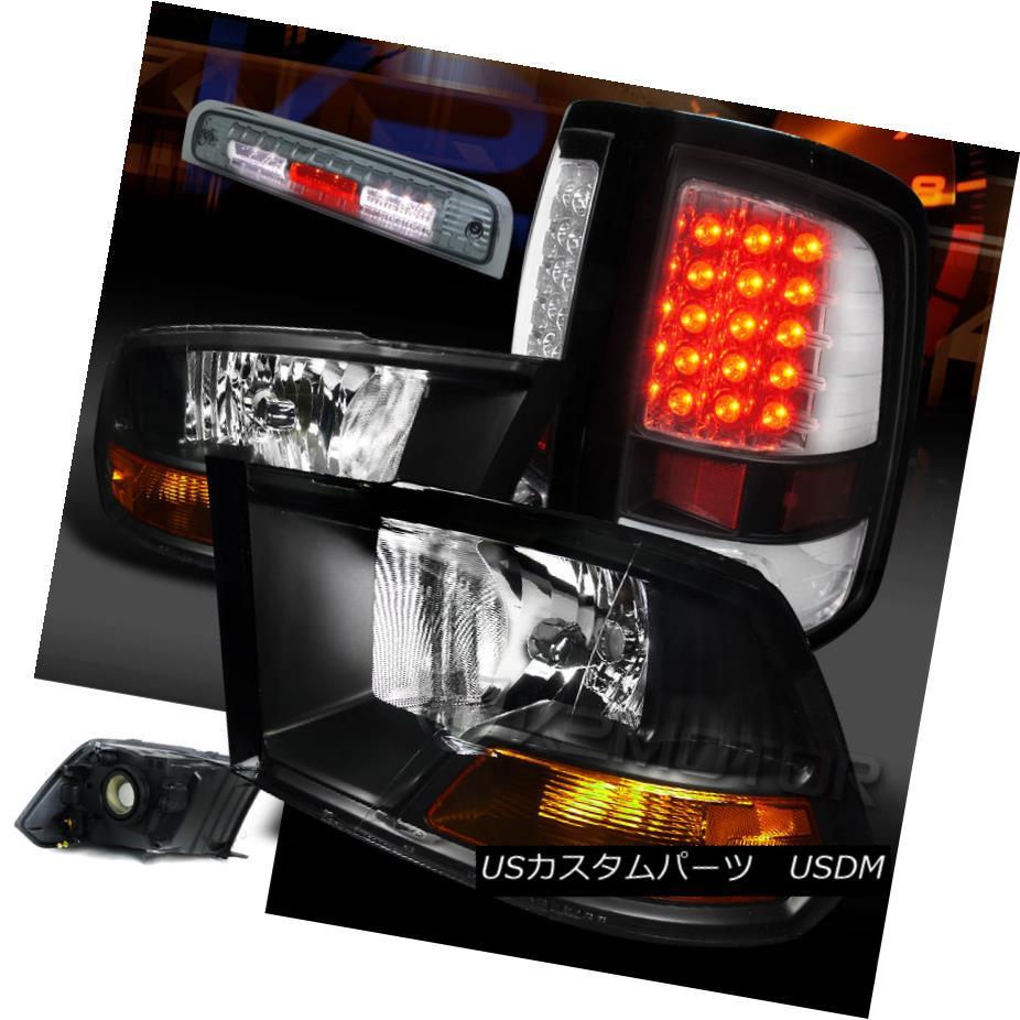 テールライト 09-13 Dodge Ram Black Headlights+Clear LED Tail Lamps+Smoke 3rd Brake Light 09-13 Dodge Ramブラックヘッドライト+ Cle ar LEDテールランプ+ Smoke 3rdブレーキライト