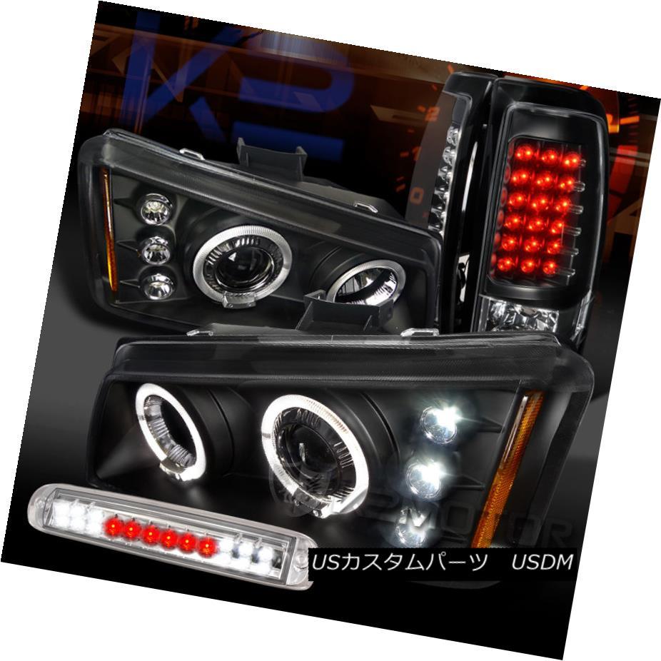 テールライト 03-06 Silverado Black Halo Projector Headlights+LED Tail Lamps+Clear 3rd Brake 03-06 Silverado Black Haloプロジェクターヘッドライト+ LEDテールランプ+クリア第3ブレーキ