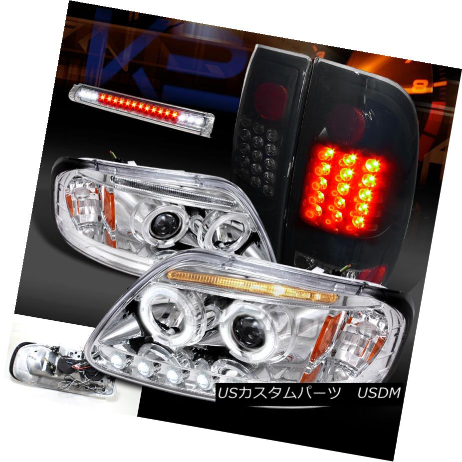 97-03 F150 Black Headlights+LED Tail Lamps+Smoke LED 3rd Brake