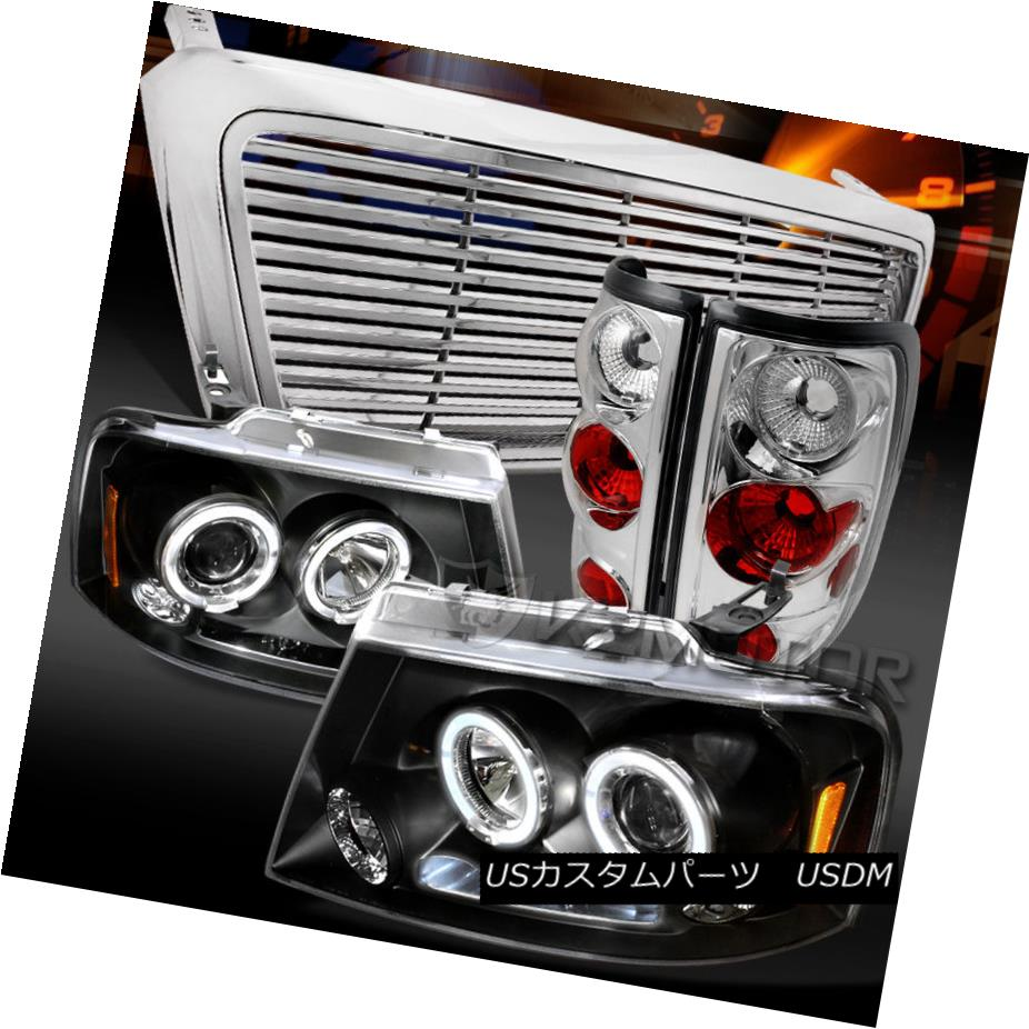 テールライト 04-08 F150 Black LED DRL Projector Headlights+Clear Tail Lamps+Billet Grille 04-08 F150ブラックLED DRLプロジェクターヘッドライト+ Cle arテールランプ+ Billet Grille
