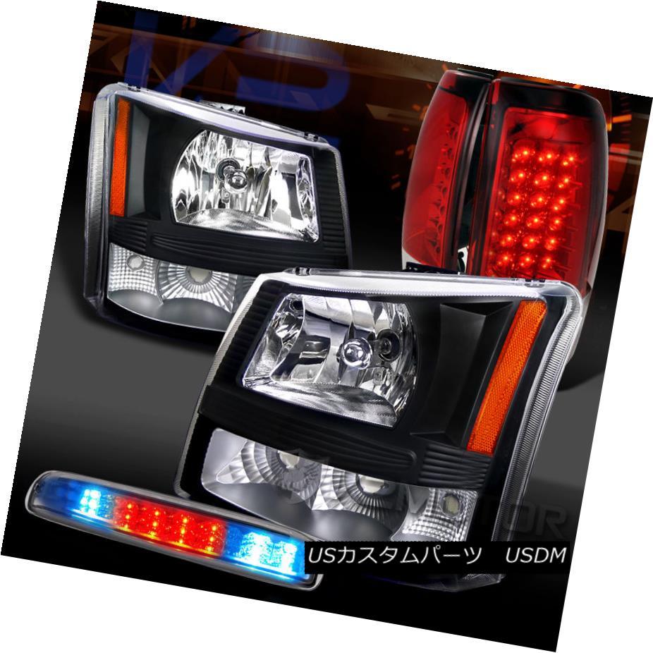 テールライト 03-06 Silverado 1500 Black Headlights+Red LED Tail Lamps+Clear LED 3rd Brake 03-06 Silverado 1500ブラックヘッドライト+レッドLEDテールランプ+クリアLED第3ブレーキ