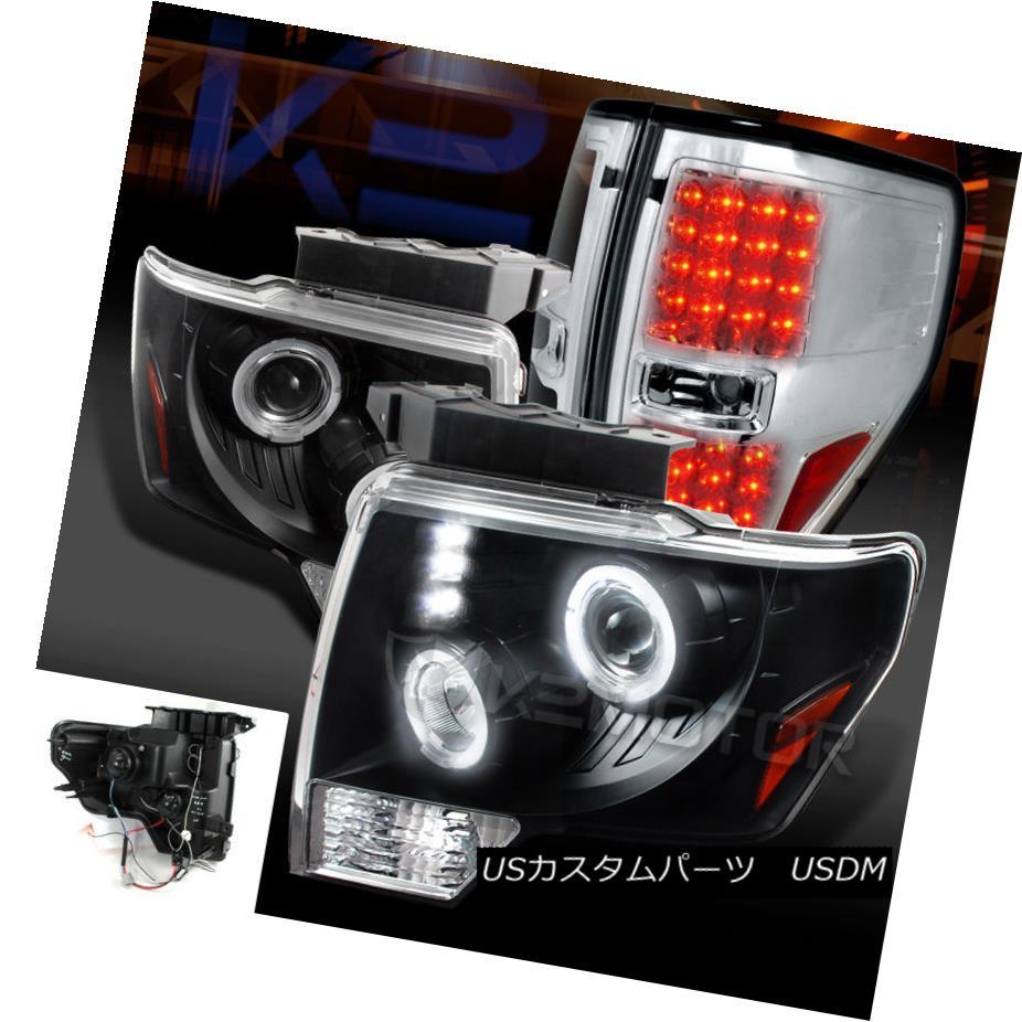 テールライト 09-14 F150 Black Dual Halo Projector Headlights+Clear LED Tail Brake Lamps 09-14 F150ブラックデュアルハロープロジェクターヘッドライト+ Cle ar LEDテールブレーキランプ