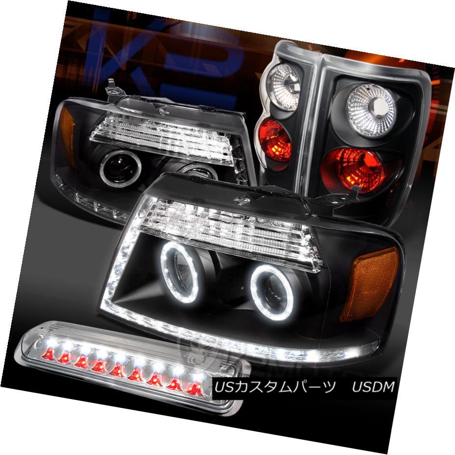テールライト 04-08 F150 Black LED Halo Projector Headlights+Tail Lamps+Clear 3rd Brake 04-08 F150ブラックLEDハロープロジェクターヘッドライト+タイ lランプ+クリア第3ブレーキ