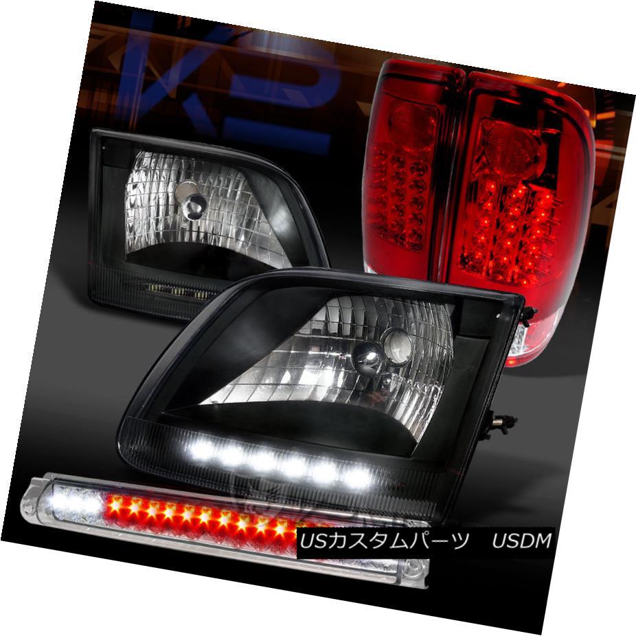 テールライト 97-03 F150 Black LED Headlights+Clear LED 3rd Brake Light+Red LED Tail Lights 97-03 F150ブラックLEDヘッドライト+ Cle ar LED第3ブレーキライト+赤LEDテールライト