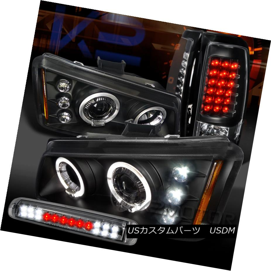 テールライト 03-06 Silverado Black Halo Projector Headlight LED Tail+Smoke LED 3rd Stop Lamp 03-06 Silverado Black HaloプロジェクターヘッドライトLEDテール+スモークLED第3ストップランプ