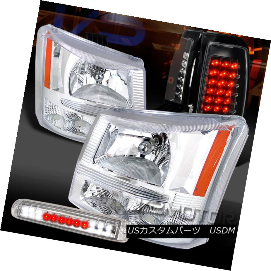 テールライト 03-06 Silverado 1500 Chrome Headlights+LED 3rd Brake+Black LED Tail Lamps 03-06 Silverado 1500クロームヘッドライト+ LED第3ブレーキ+ブラックLEDテールランプ