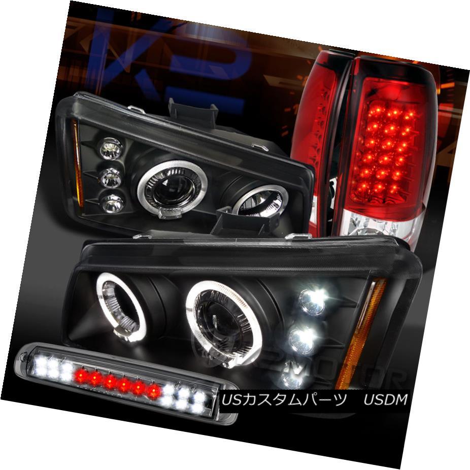 テールライト 03-06 Silverado Black Halo Projector Headlight Red LED Tail+Smoke 3rd Stop Lamp 03-06 Silverado Black HaloプロジェクターヘッドライトレッドLEDテール+スモーク3ストップランプ
