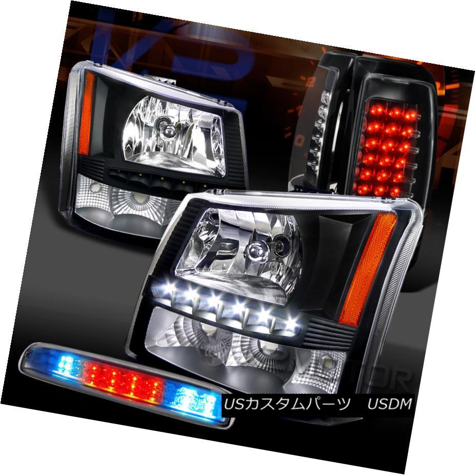 テールライト 03-06 Silverado Black SMD DRL Headlights+LED Tail Lamps+Chrome LED 3rd Brake 03-06 Silverado Black SMD DRLヘッドライト+ LEDテールランプ+クロームLED 3rdブレーキ