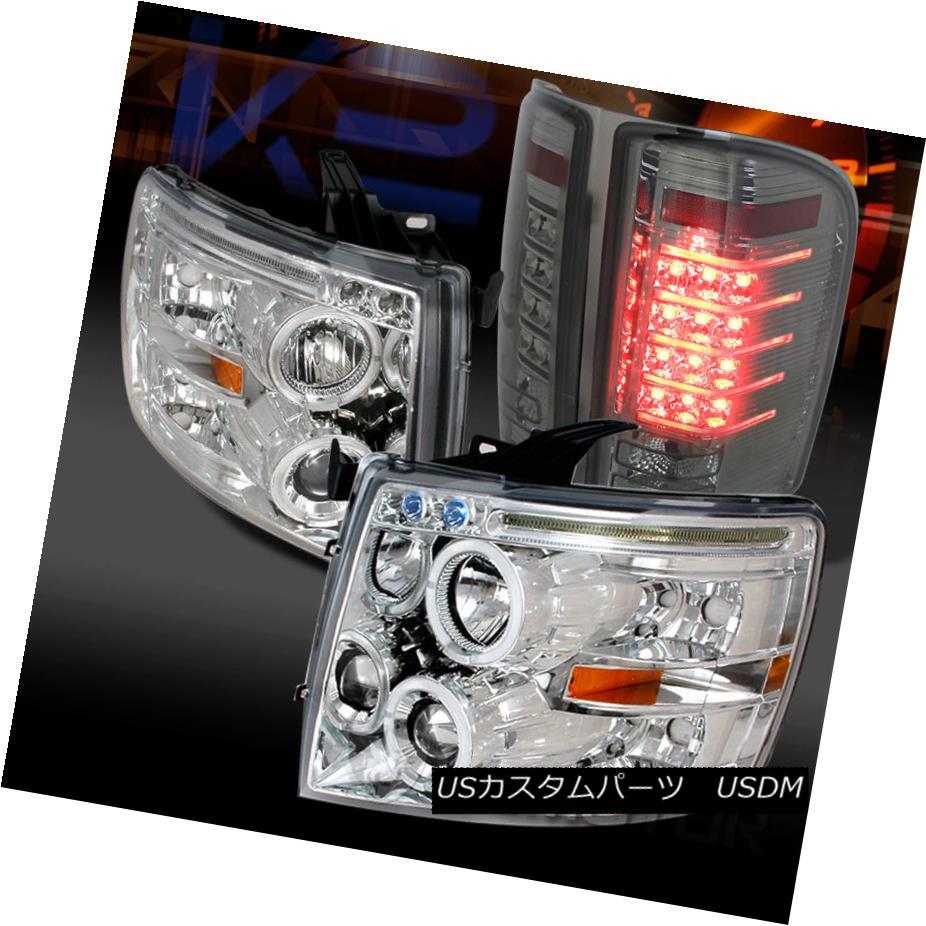 テールライト 07-14 Silverado Chrome Dual Halo Projector Headlights+Smoke LED Tail Lamps 07-14 Silverado Chromeデュアル・ハロー・プロジェクター・ヘッドライト+ Smo ke LEDテールランプ