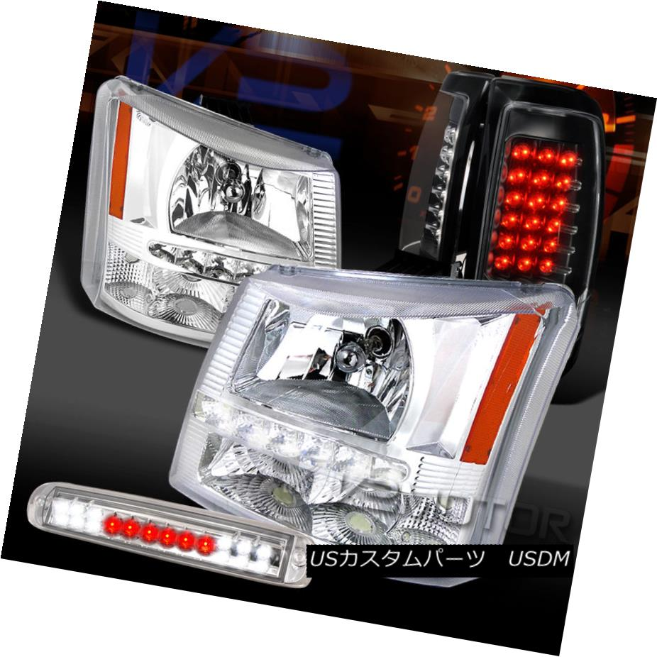 テールライト 03-06 Silverado Chrome SMD DRL Headlights+LED 3rd Brake+Black LED Tail Lamps 03-06 Silverado Chrome SMD DRLヘッドライト+ LED第3ブレーキ+ブラックLEDテールランプ