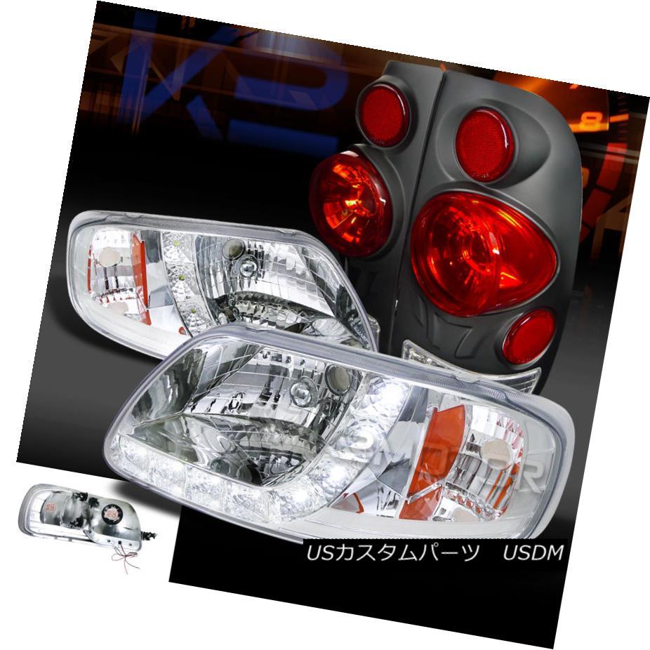テールライト 97-03 F150 Styleside Chrome SMD LED DRL Headlights+Black 3D Tail Brake Lamps 97-03 F150 Styleside Chrome SMD LED DRLヘッドライト+ Bla ck 3Dテールブレーキランプ