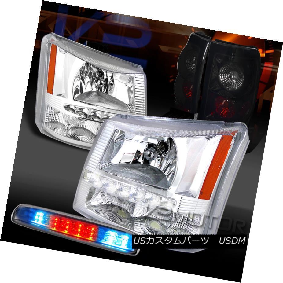 テールライト 03-06 Silverado Clear SMD DRL Headlights+LED 3rd Brake+Glossy Black Tail Lamps 03-06 Silverado Clear SMD DRLヘッドライト+ LED第3ブレーキ+光沢のあるブラックテールランプ