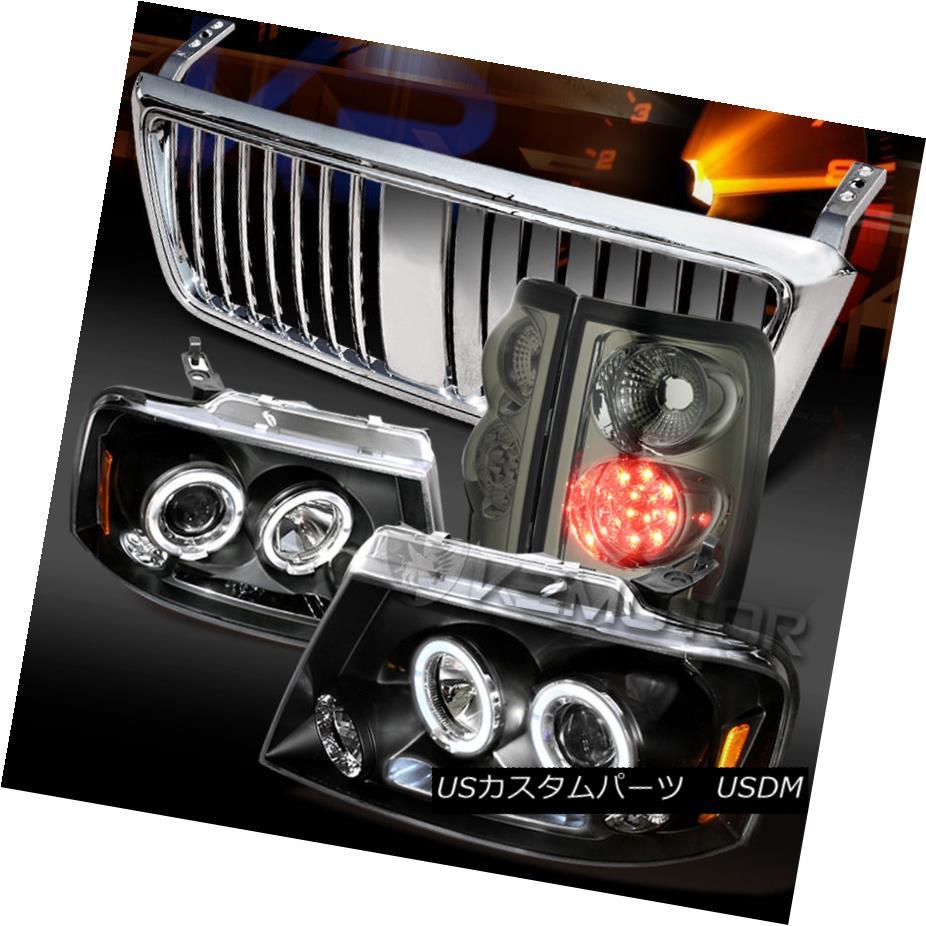 テールライト 04-08 F150 Black Halo Projector Headlights+Smoke LED Tail Lamps+Chrome Grille 04-08 F150ブラックハロープロジェクターヘッドライト+スモーク ke LEDテールランプ+クロームグリル