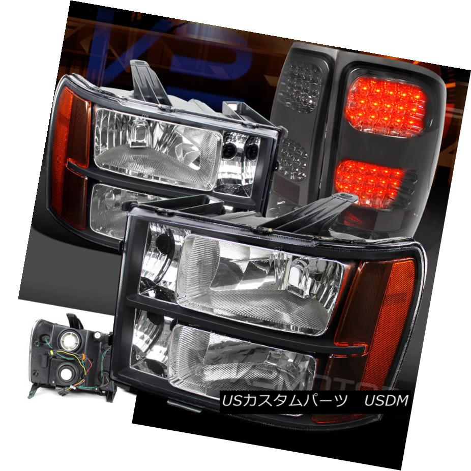テールライト 07-13 GMC Sierra 1500/2500/3500HD Black Amber Headlights+Smoke LED Tail Lamps 07-13 GMC Sierra 1500/2500/3500 HDブラックアンバーヘッドライト+スモーク ke LEDテールランプ