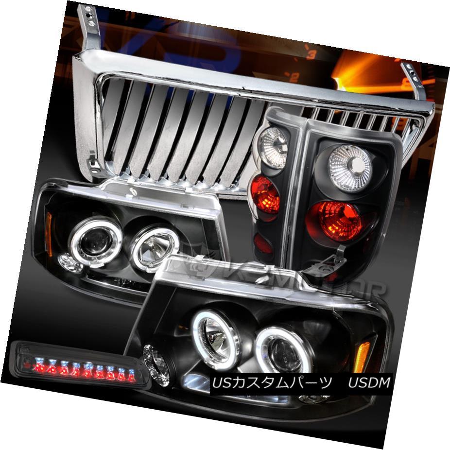 テールライト 04-08 F150 Black LED DRL Headlights+Tail Lamp+Chrome Front Grille+Tint 3rd Brake 04-08 F150ブラックLED DRLヘッドライト+タイ lランプ+クロームフロントグリル+ティント第3ブレーキ