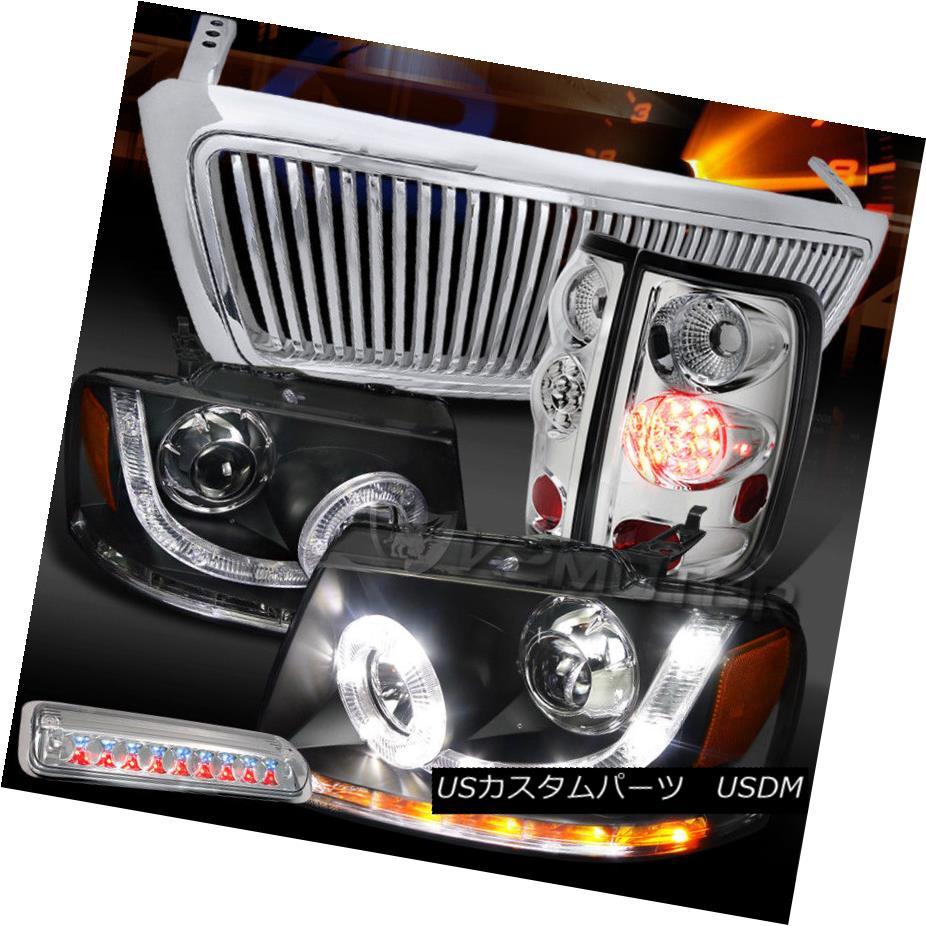テールライト 04-08 F150 Black SMD DRL Headlights+Chrome Vertical Grille+LED Tail Brake Lamps 04-08 F150ブラックSMD DRLヘッドライト+ Chr ome垂直グリル+ LEDテールブレーキランプ