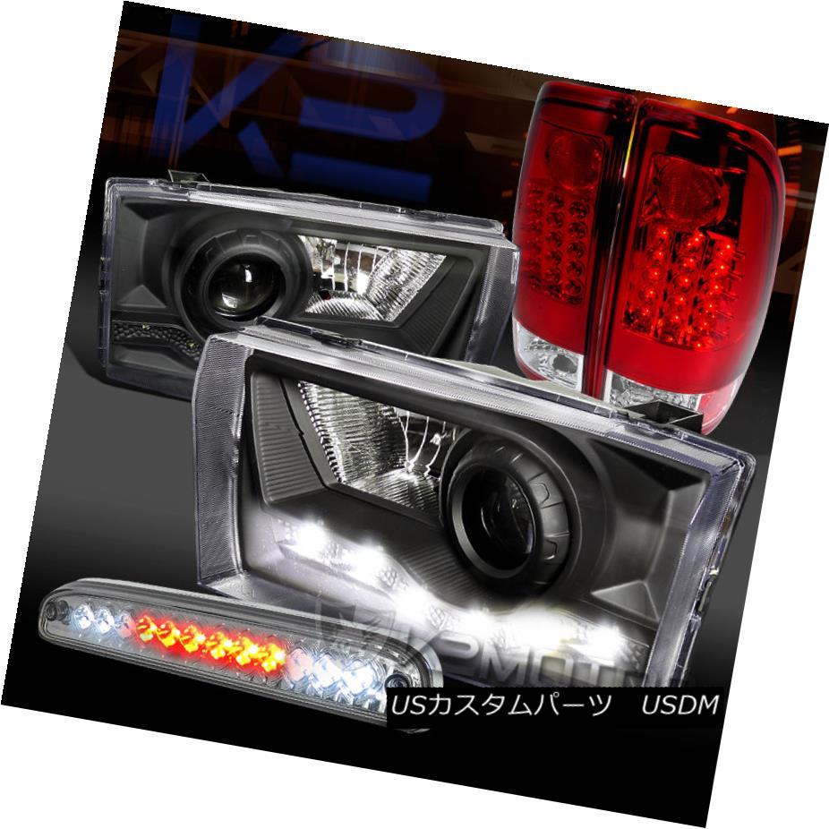 テールライト 99-04 F250 SD Black SMD DRL Projector Headlights+Red LED Tail Lamps+3rd Brake 99-04 F250 SDブラックSMD DRLプロジェクターヘッドライト+レッドLEDテールランプ+第3ブレーキ