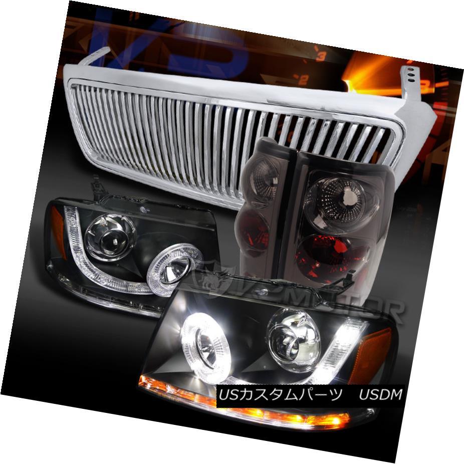 テールライト 04-08 F150 Black SMD LED Projector Headlight+Smoke Tail Lamp+Vertical Grille 04-08 F150ブラックSMD LEDプロジェクターヘッドライト+スモーク eテールランプ+垂直グリル