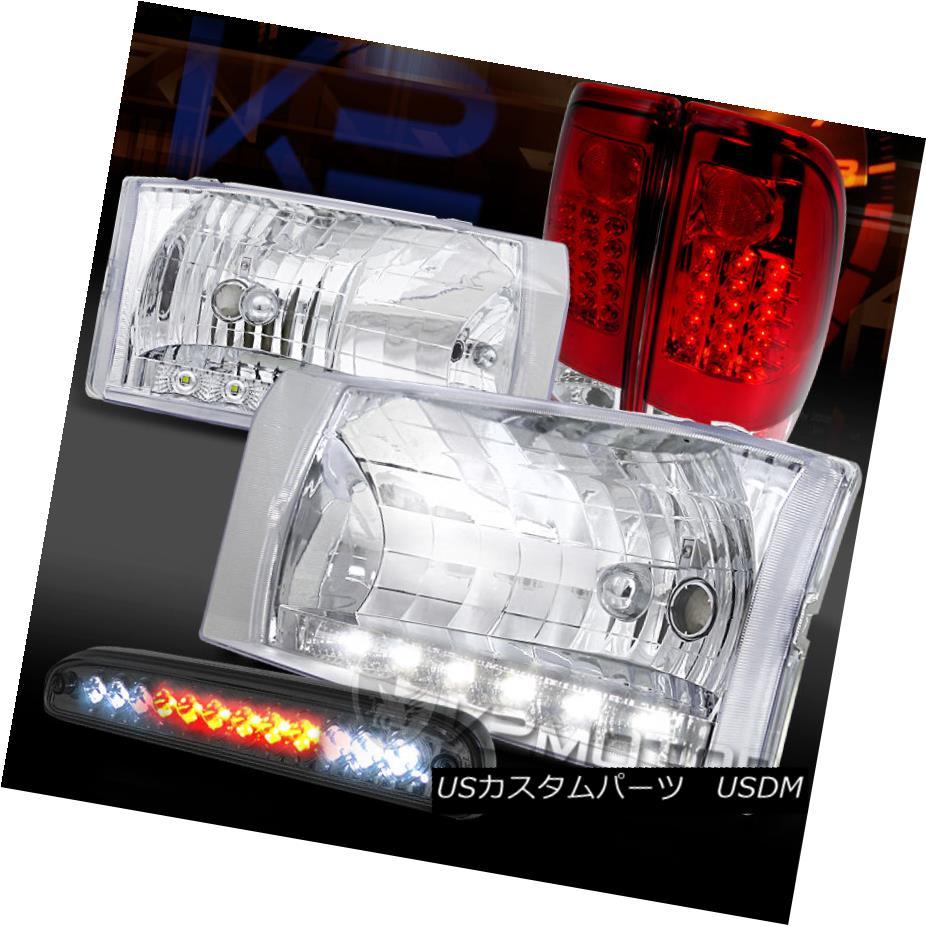 テールライト 99-04 F250 SD Clear LED DRL Headlights+Tinted 3rd Brake+Red/Clear LED Tail Lamps 99-04 F250 SDクリアLED DRLヘッドライト+錫  3番目のブレーキ+赤/クリーア r LEDテールランプ