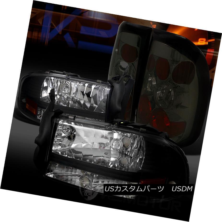 テールライト 97-04 Dodge Dakota Black 1PC Style Headlights+Smoke Rear Tail Lamps 97-04ダッジダコタブラック1PCスタイルヘッドライト+スモール keリアテールランプ