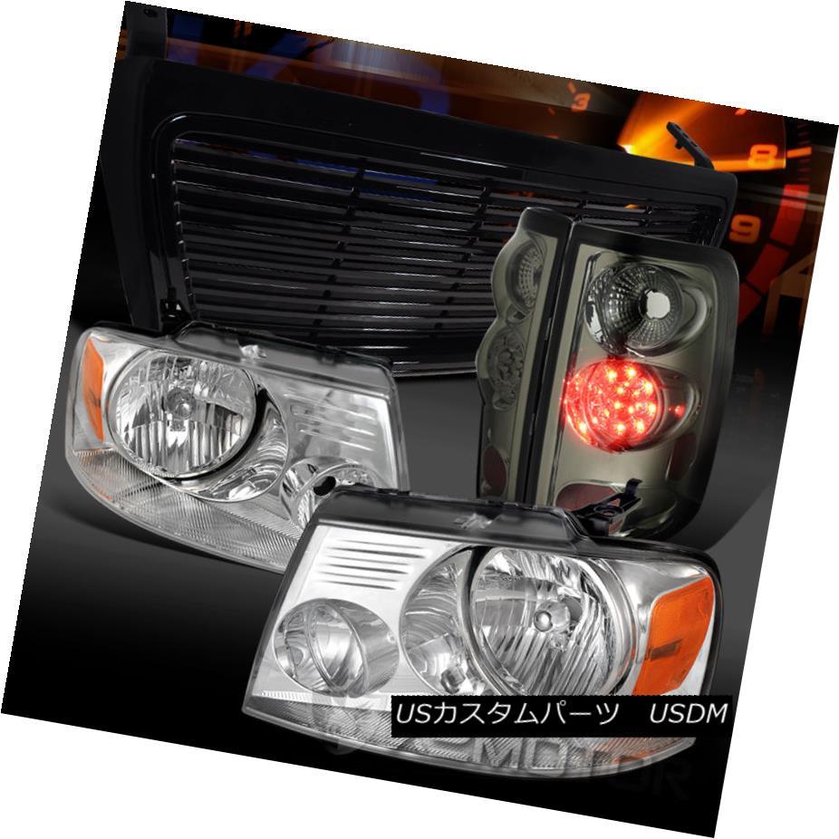 テールライト 04-08 Ford F150 Chrome Headlights+Smoke LED Tail Lamps+Black Hood Grille 04-08 Ford F150クロームヘッドライト+ Smo ke LEDテールランプ+ Black Hood Grille