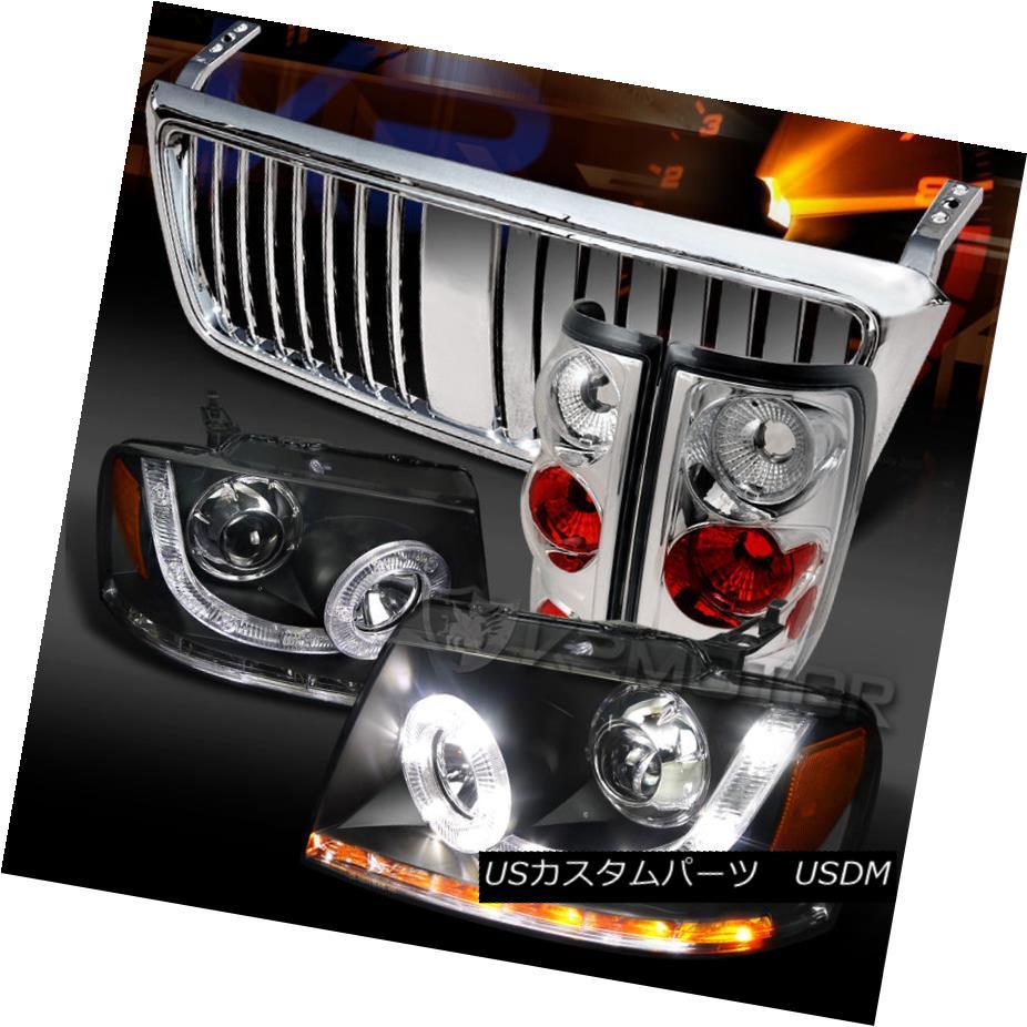 テールライト 04-08 F150 Black SMD LED Projector Headlights+Chrome Tail Lamps+Hood Grille 04-08 F150ブラックSMD LEDプロジェクターヘッドライト+ Chr omeテールランプ+フードグリル