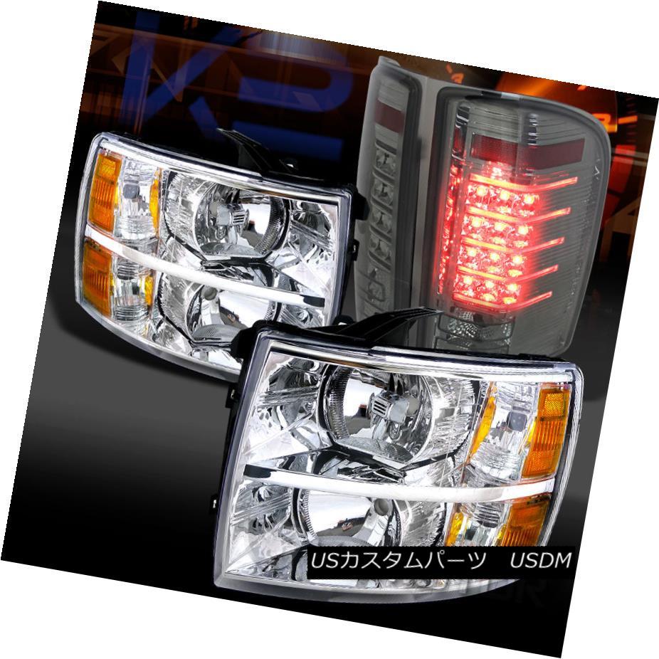 テールライト 07-14 Silverado 1500/2500/3500HD Chrome Headlights+Smoke LED Tail Lamps 07-14 Silverado 1500/2500/3500 HDクロームヘッドライト+スモーク ke LEDテールランプ