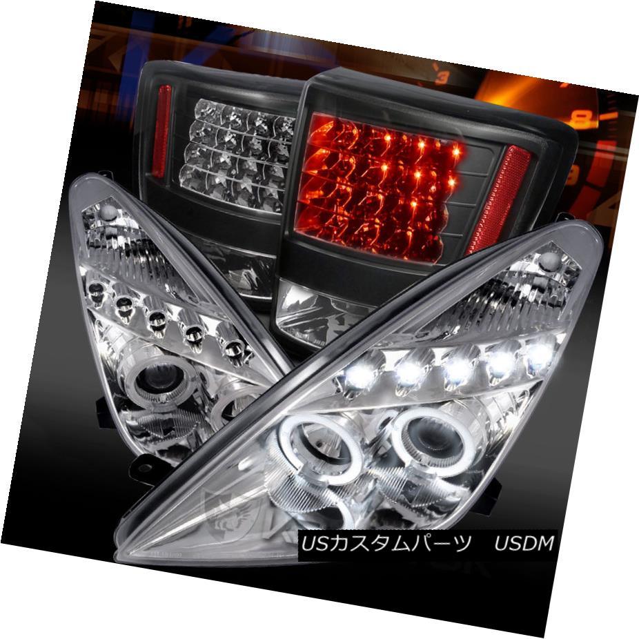 テールライト 00-05 Celica Chrome LED Halo Projector Headlights+Black LED Tail Lamps 00-05 Celica Chrome LEDハロープロジェクターヘッドライト+ Bla ck LEDテールランプ