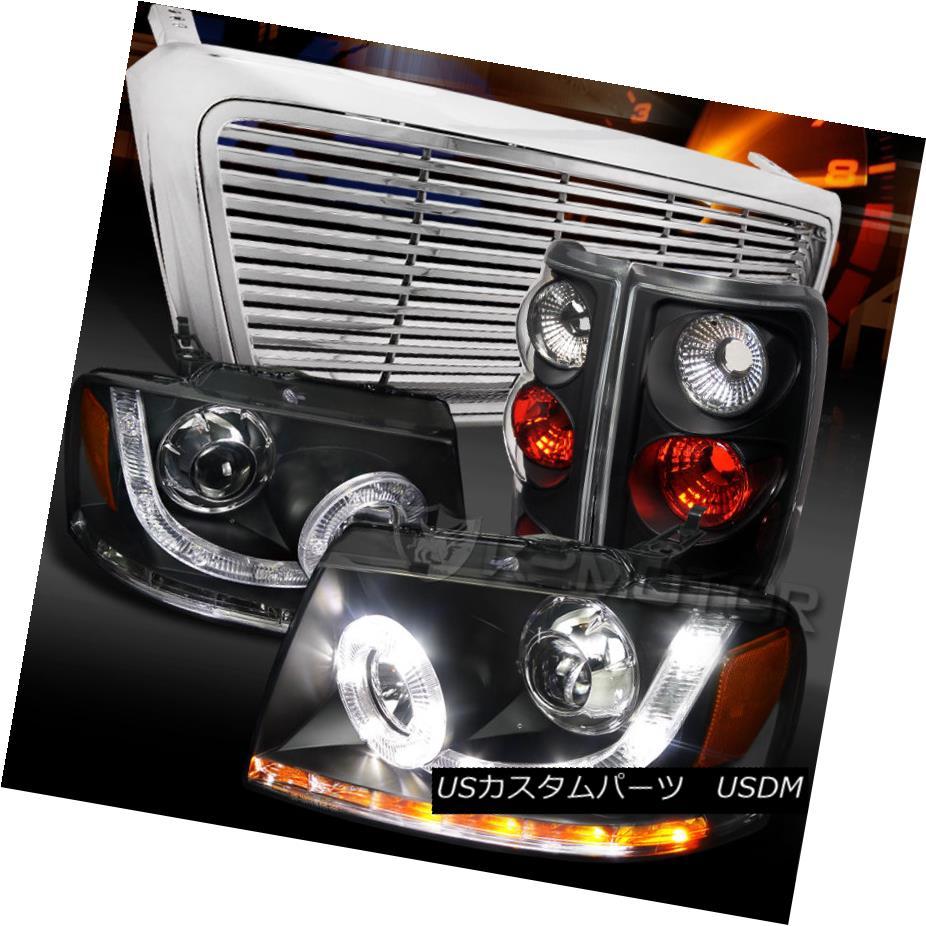 テールライト 04-08 F150 Black SMD LED Projector Headlights+Tail Lamps+Chrome Billet Grille 04-08 F150ブラックSMD LEDプロジェクターヘッドライト+タイ lランプ+クロムビレットグリル