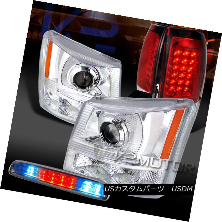 テールライト 03-06 Silverado Clear Projector Headlights+LED 3rd Stop+Red LED Tail Lamps 03-06 Silveradoクリアプロジェクターヘッドライト+ LED第3ストップ+レッドLEDテールランプ