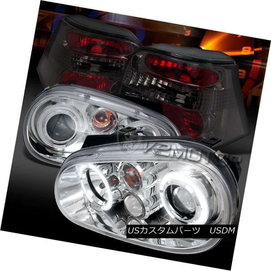 テールライト Fit 99-06 VW Golf Chrome Halo Projector Headlights+Smoke Tail Lamps フィット99-06 VWゴルフクロームハロープロジェクターヘッドライト+スモーキー keテールランプ