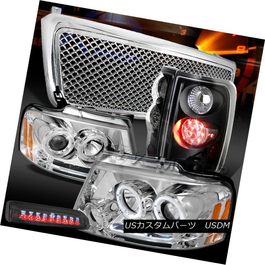 テールライト 04-08 F150 Chrome Halo Headlights+Grille+Tint LED 3rd Stop+Black LED Tail Lamps 04-08 F150クロームハローヘッドライト+グリップ lle +ティントLED 3ストップ+ブラックLEDテールランプ