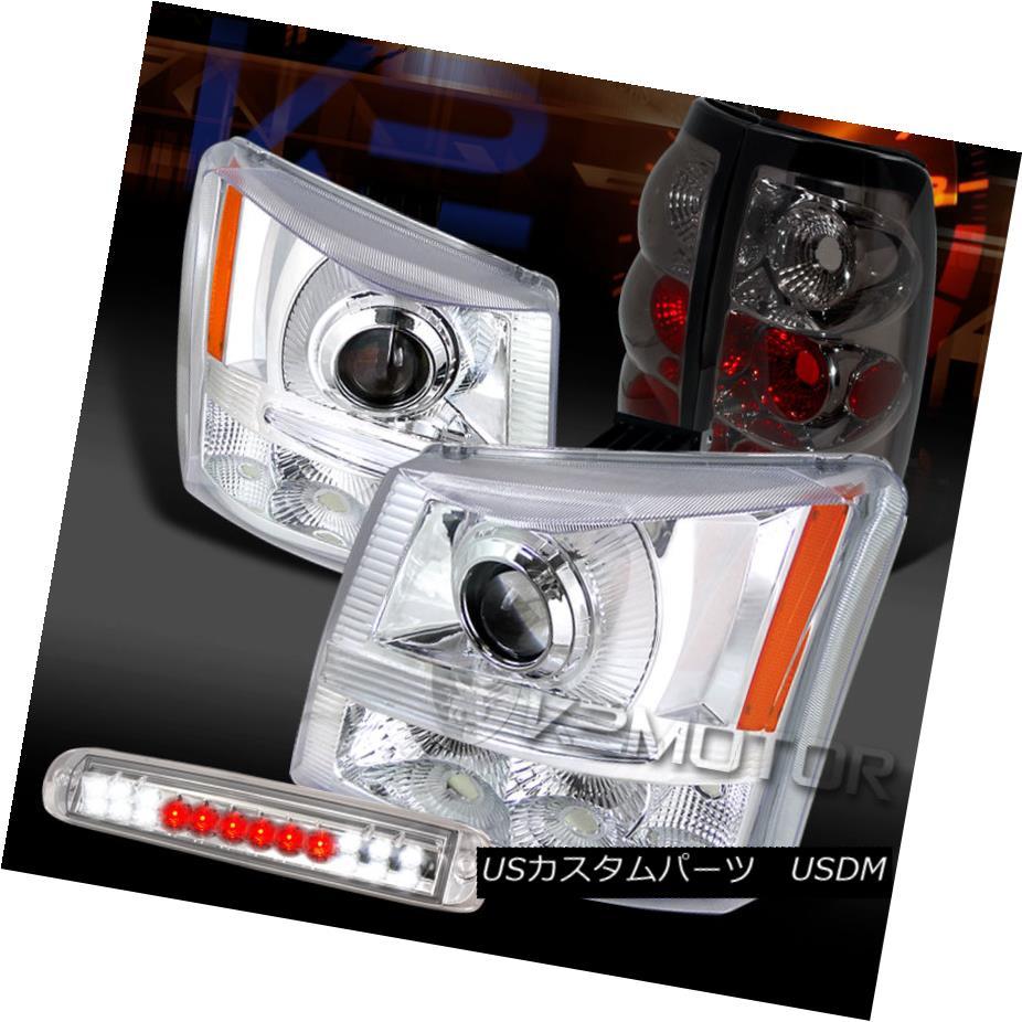 テールライト 03-06 Silverado Chrome Projector Headlights+LED 3rd Brake+Smoke Tail Lamps 03-06 Silverado Chromeプロジェクターヘッドライト+ LED第3ブレーキ+煙テールランプ