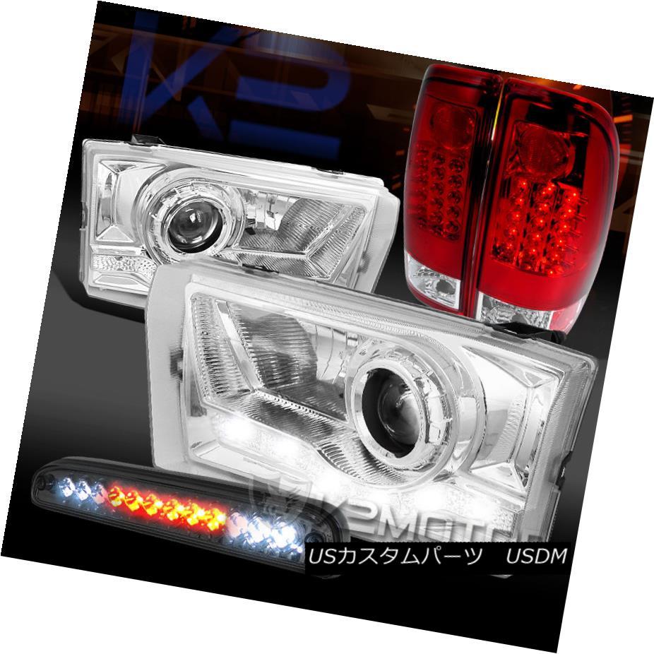 テールライト 99-04 F250 SD Chrome SMD DRL Projector Headlight+LED Tail Lamp+Tinted 3rd Brake 99-04 F250 SDクロムSMD DRLプロジェクターヘッドライト+ LEDテールランプ+第3ブレーキ