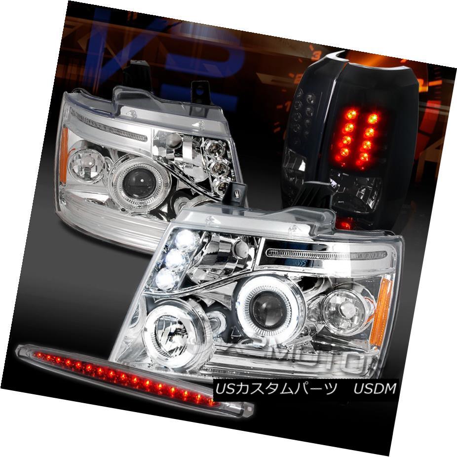 テールライト 07-12 Avalanche Clear Projector Headlights+3rd Brake+Glossy Black LED Tail Lamps 07-12アバランシェクリアプロジェクターヘッドライト+ 3番ブレーキ+光沢のある黒色LEDテールランプ