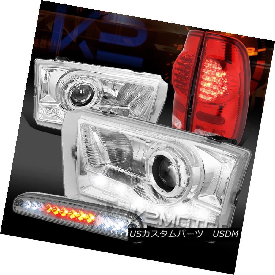 テールライト 99-04 F250 SD SMD DRL Projector Headlights+LED 3rd Brake+Red LED Tail Lamps 99-04 F250 SD SMD DRLプロジェクターヘッドライト+ LED第3ブレーキ+赤色LEDテールランプ