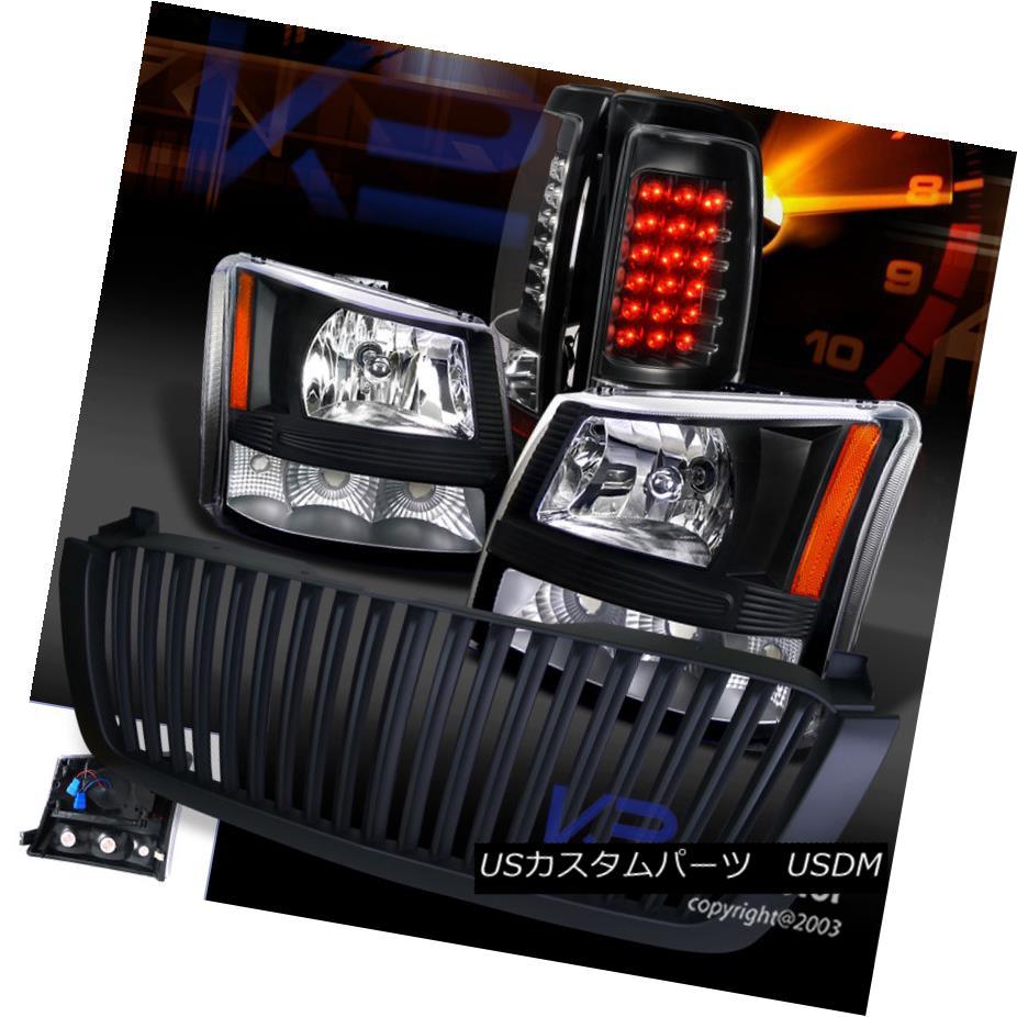テールライト 03-05 Silverado 1PC Black Crystal Headlights+Bumper+Hood Grille+LED Tail Light 03-05 Silverado 1PCブラッククリスタルヘッドライト+ブーム +フードグリル+ LEDテールライト