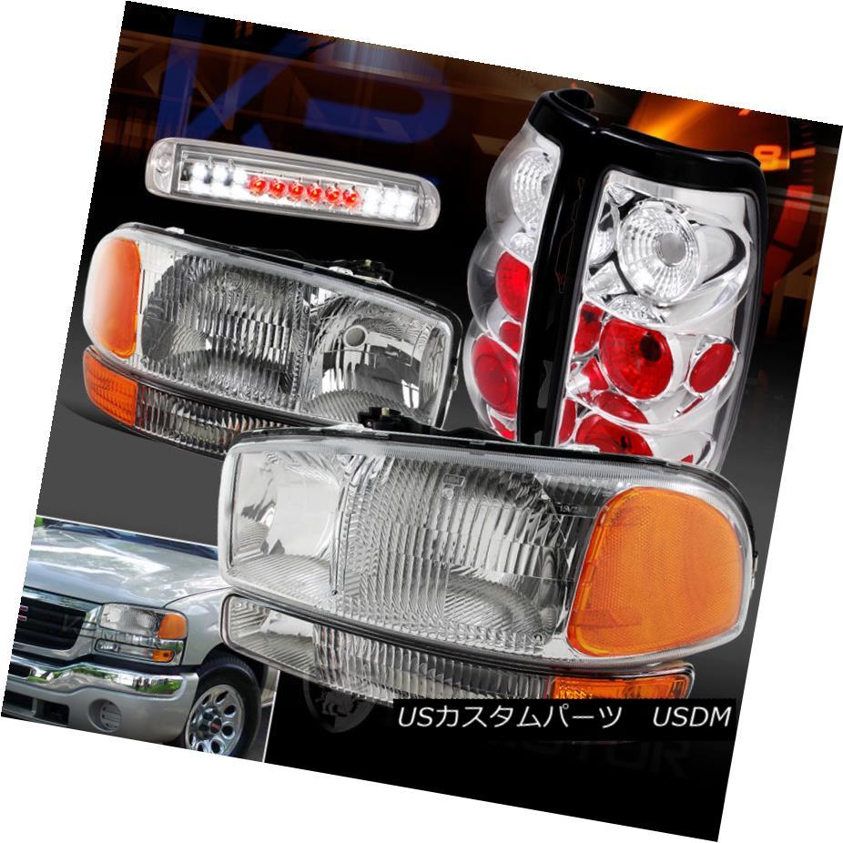 テールライト 99-03 GMC Sierra Headlights+Bumper Lights+Clear Tail Lights+LED 3rd Brake Lamps 99-03 GMC Sierraヘッドライト+ブライト +ライト+クリアテールライト+ LED第3ブレーキランプ