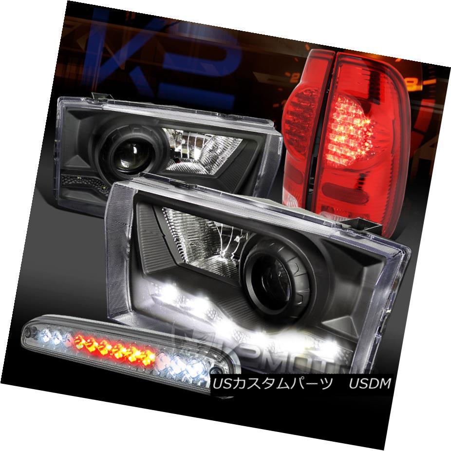 テールライト 99-04 F250 Black SMD DRL Projector Headlights+Red/Clear LED Tail Lamps+3rd Brake 99-04 F250ブラックSMD DRLプロジェクターヘッドライト+レッド /クリアLEDテールランプ+第3ブレーキ