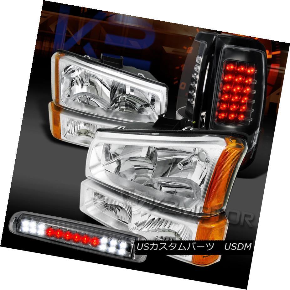 テールライト 03-06 Silverado Chrome Head Bumper Lamps+Smoke 3rd Brake+Black LED Tail Lamps 03-06 Silveradoクロームヘッドバンパーランプ+スモーク3ブレーキ+ブラックLEDテールランプ