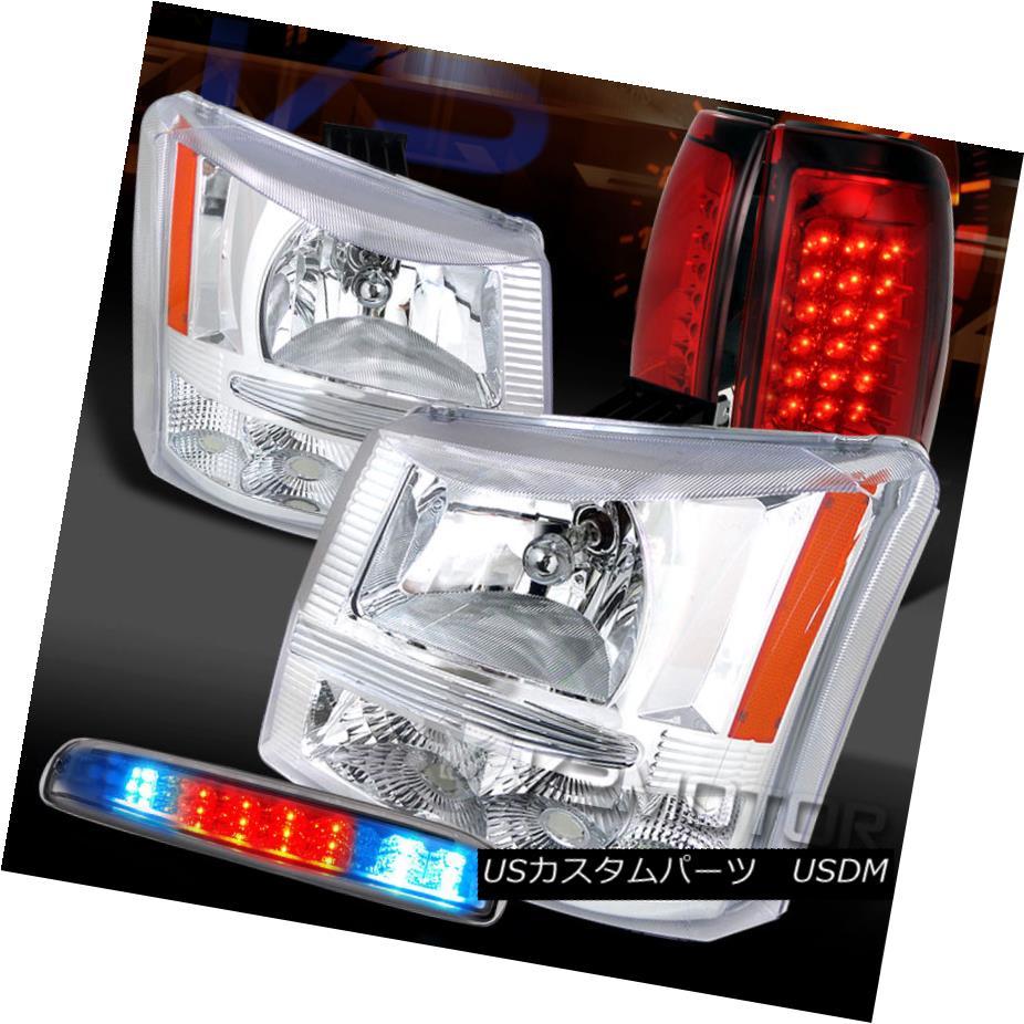 テールライト 03-06 Silverado 1500 Clear Headlights+LED 3rd Stop Lamp+Red LED Tail Lamps 03-06 Silverado 1500クリアヘッドライト+ LED第3ストップランプ+レッドLEDテールランプ