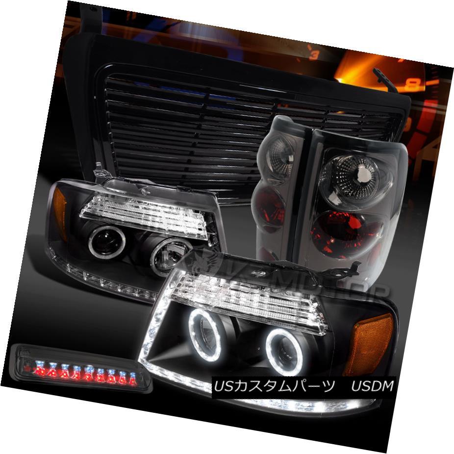テールライト 04-08 F150 Black LED DRL Projector Headlights+Grille+Smoke Tail 3rd Brake Lamps 04-08 F150ブラックLED DRLプロジェクターヘッドライト+グリル lle +スモークテール第3ブレーキランプ