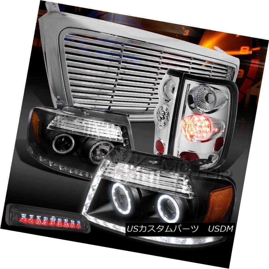 テールライト 04-08 F150 Black LED Projector Headlight+Grill+Clear LED Tail Tint 3rd Stop Lamp 04-08 F150ブラックLEDプロジェクターヘッドライト+グリル l +クリアLEDテールティント第3ストップランプ