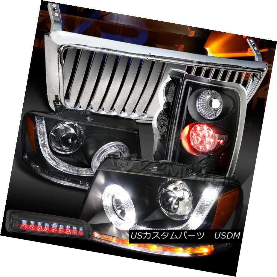 テールライト 04-08 F150 Black SMD LED Headlights Tail Lamps+Chrome Front Grille+Tint 3rd Stop 04-08 F150ブラックSMD LEDヘッドライトテールランプ+クロームフロントグリル+ティント3ストップ