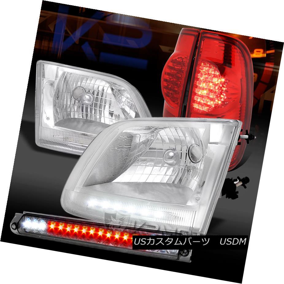 テールライト 97-03 F150 Chrome LED DRL Headlights+Smoke 3rd Brake+Red LED Tail Lamps 97-03 F150クロームLED DRLヘッドライト+スモーク ke第3ブレーキ+レッドLEDテールランプ