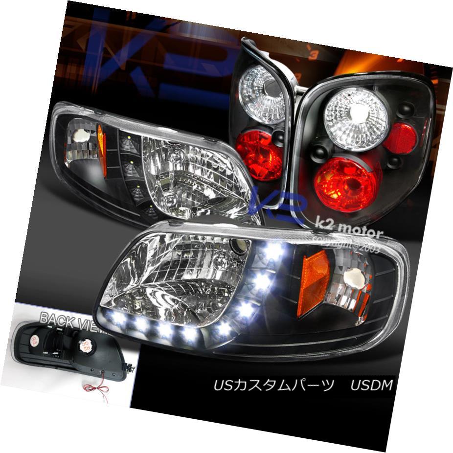 テールライト 97-00 Ford F150 Pick Up Black SMD LED Stripe Headlight+Rear Tail Lamp 97-00フォードF150ピックアップブラックSMD LEDストライプヘッドライト+リアテールランプ